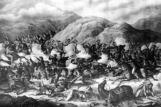 Great Sioux War of 1876 - Custer's last stand at Little Bighorn in the Crow Indian Reservation.