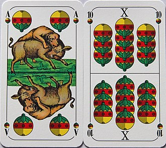 Ace-Ten games - The Ace (Deuce) and Ten of Bells from a Bavarian pattern, German-suited pack