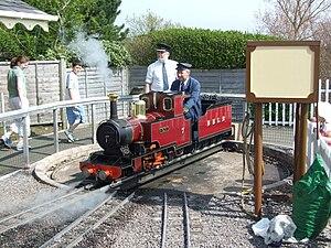 Beer Heights Light Railway - Steam locomotive 'Mr P' on turntable.