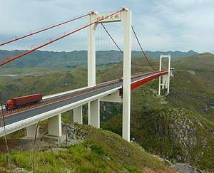 Beipan River Hukun Expressway Bridge - Image: Beipanjiang Highway Suspension Bridge 1