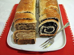 Nut roll - Hungarian bejgli, walnut (left) and poppy seed (right)
