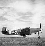 Bell Airacobra Mk I of No. 601 Squadron RAF at Duxford, Cambridgeshire, 21 August 1941. CH3723.jpg
