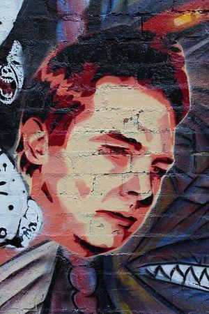 Ben Cousins - Stencil of Cousins by a street artist in Melbourne