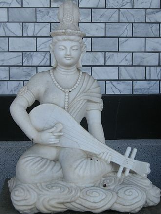Saraswati - Saraswati goddess is found in temples of Southeast Asia, islands of Indonesia and Japan. In Japan, she is known as Benzaiten (shown). She is depicted with a musical instrument in Japan, and is a deity of knowledge, music, and everything that flows.