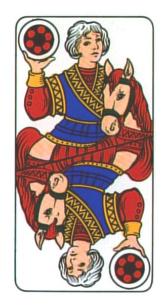 Knight (playing card) - Image: Bergamo Deck Coins Knight