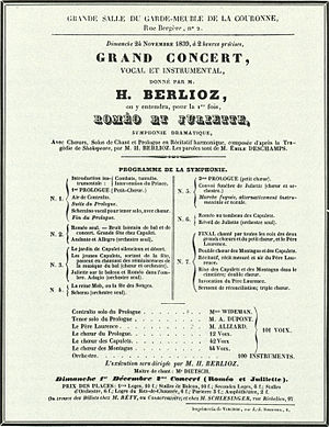 Roméo et Juliette (Berlioz) - Handbill advertising the first performance of Roméo et Juliette.