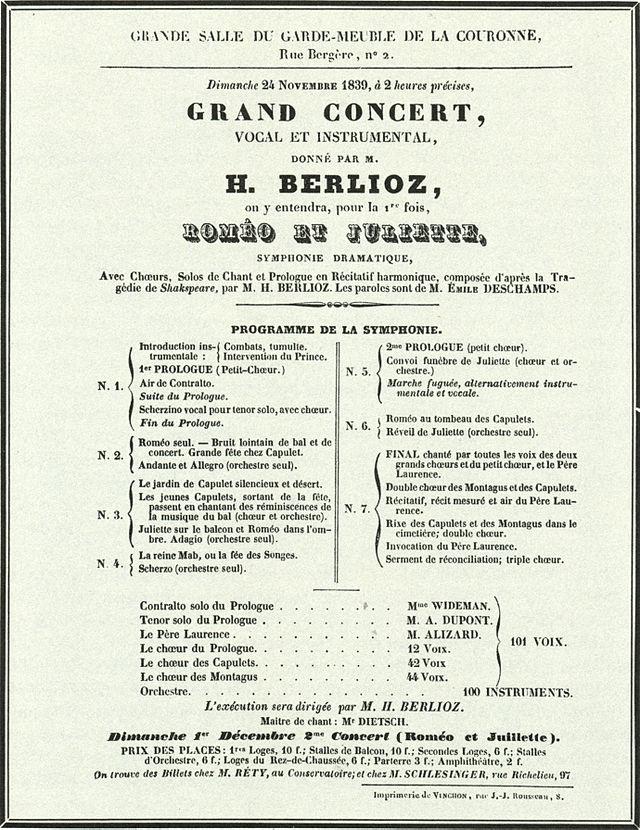 romeo et juliette symphonique dramatique avec chorus solos de chant et prologue en recitatif choral op 17