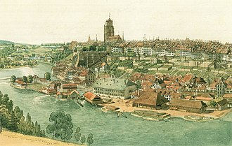 Old City (Bern) - The Mattequartier and the old city seen from the east, c. 1820.