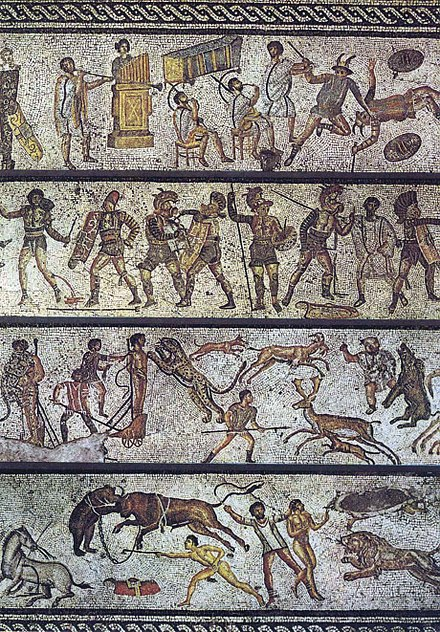 The Zliten mosaic, from a dining room in present-day Libya, depicts a series of arena scenes: from top, musicians playing a Roman tuba, a water pipe organ and two horns; six pairs of gladiators with two referees; four beast fighters; and three convicts condemned to the beasts Bestiarii.jpg