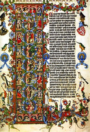 Wenceslas Bible - Initial of the book of Genesis – 7 days of creation.
