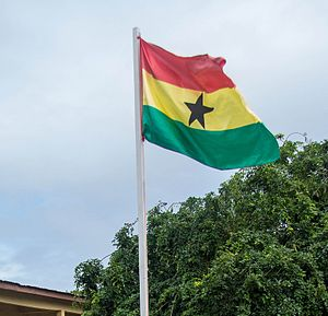Flag of Ghana - Flag of Ghana raised high and flowing.