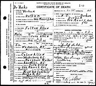 Blind Boy Fuller - Allen's death certificate