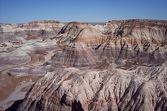 Colorado Plateau - Painted Desert seen from Blue Mesa, Petrified Forest National Park