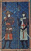 Manuscript illustration of Thomas of Lancaster with Saint George.