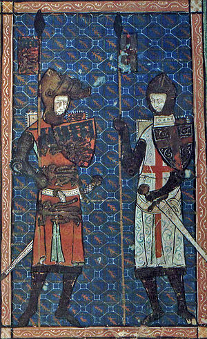 Edmund Crouchback - Miniature of Edmund with Saint George, from an early 14th-century manuscript (Oxford, Bodleian Library, MS Douce 231)