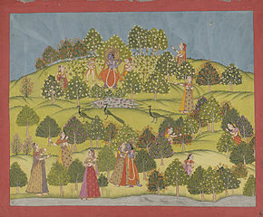 Krishna and ladies in a garden with peacocks