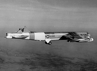 Boeing B-52 Stratofortress - B-52H (AF Ser. No. 61-0023), configured at the time as a testbed to investigate structural failures, still flying after its vertical stabilizer sheared off in severe turbulence on 10 January 1964. The aircraft landed safely.