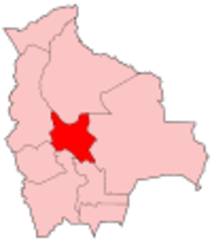 Cochabamba Department - Map of Bolivia showing Cochabamba department
