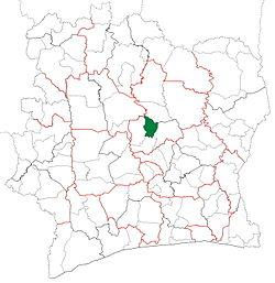 Location in Ivory Coast. Botro Department has retained the same boundaries since its creation in 2008.