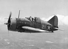 "Brewster F2A-3 ""Buffalo"" piloted by Lieutenant Commander Joseph C. Clifton August 1942."