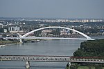 Bridges over the Danube river, view from Nový most viewpoint in Bratislava, Bratislava I District.jpg