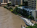 Brisbane River Town Reach Riverwalk in flood from Story Bridge Fortitude Valley P1090899.jpg