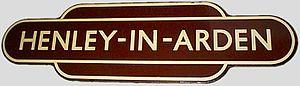 """Henley-in-Arden - British Railways Western Region """"totem"""" for Henley-in-Arden station."""