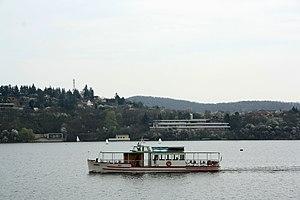Brno, přehrada, Kozí horka, loď Brno (01).jpg