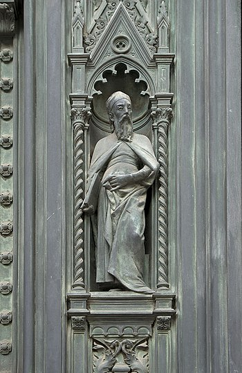 A prophet, detail of the bronze main portal of...