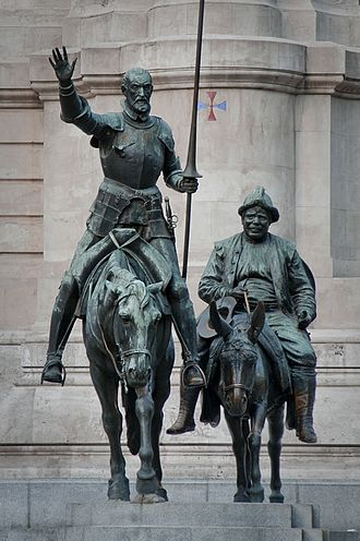 Bronze statues of Don Quixote and Sancho Panza, at the Plaza de Espana in Madrid Bronze statues of Don Quixote and Sancho Panza.jpg