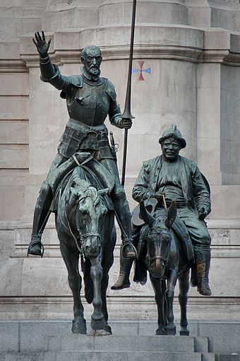 Bronze statues of Don Quixote and Sancho Panza, at the Plaza de España in Madrid.