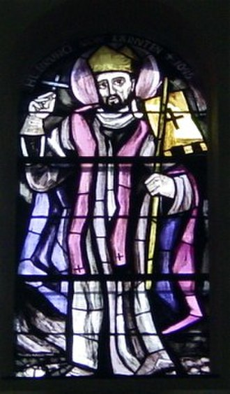 Bruno (bishop of Würzburg) - Saint Bruno of Würzburg in a stained glass window from the parish church of Liesing by Martin Häusle