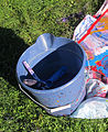 Bucket, paint spattered, water-filled, used to hold painting implements and to anchor painting 01.jpg