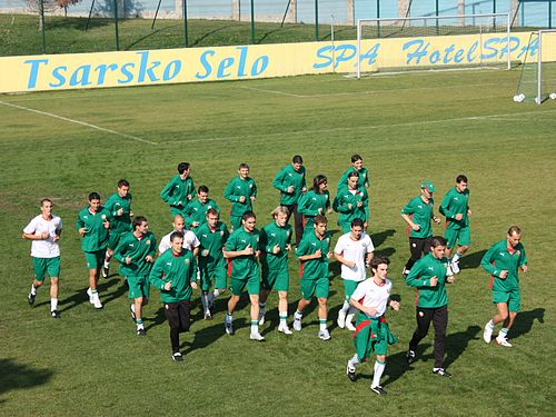 Berbatov training with Bulgaria Right Before Euro 2004 Bulgarian national football team training.jpg