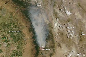 Bull Fire - NASA MODIS satellite photo from July 27, 2010 showing the smoke plumes from the fire.