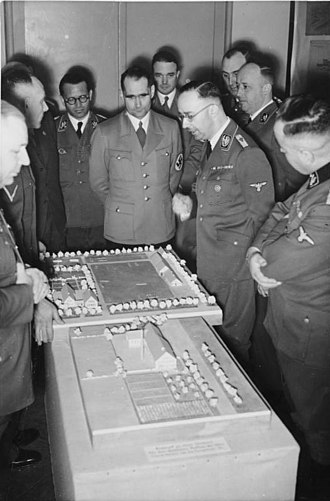 Generalplan Ost - Hess and Himmler visit a VoMi display of proposed rural German settlements in the East, March 1941.