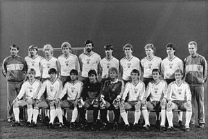 Matthias Sammer - Sammer (back row, third right) in 1986, with the East German football team