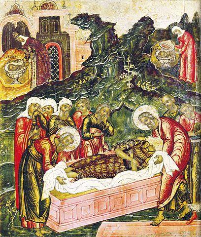 «Положение во гроб Иоанна Предтечи» Клеймо иконы «Иоанн Предтеча Ангел Пустыни». Ученики хоронят обезглавленное тело, в то время как Иродиада любуется на голову (левый угол), а её служанка прячет её в пещере (правый угол)