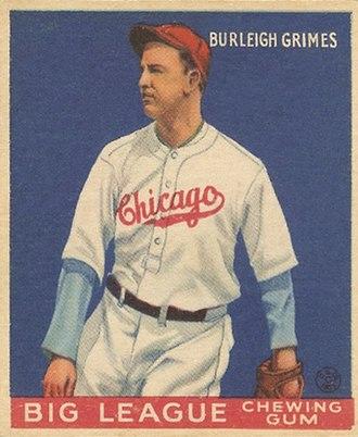 Burleigh Grimes - Baseball card of Grimes