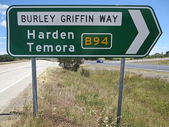 Burley Griffin Way - Burley Griffin Way sign on Hume Highway (Eastern end)