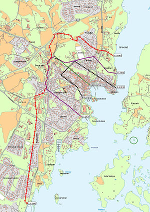 Grimstad (town) - Map of the boundaries of the town of Grimstad over the years.