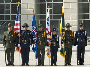 Federal law enforcement in the United States - CBP Officers  and Border Patrol Agents at a ceremony in 2007
