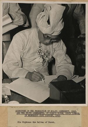 Abdul Aziz of Perak - Signature of the Federation of Malaya Agreement, 1948, and the State Agreements, at King's House, Kuala Lumpur, on Wednesday 21st January, 1948. His Highness the Sultan of Perak.