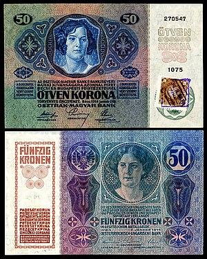 Banknotes of the Czechoslovak koruna (1919) - Image: CZE 3 Republika Ceskoslovenska 50 Korun (1919, Provisional issue)