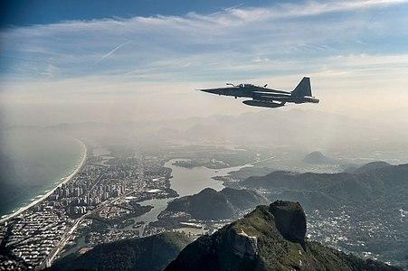 Fighter jet flying over Rio de Janeiro