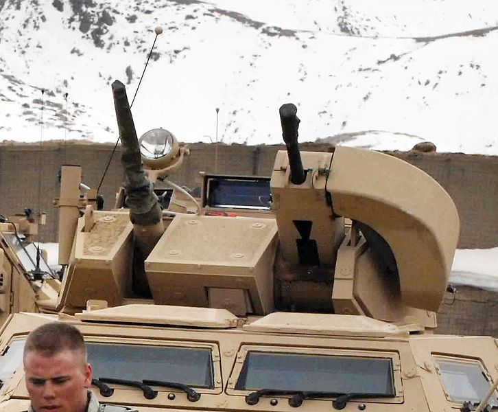 Closeup of the Cadillac Gage 1 meter turret, here with a grenade launcher on the M1117 Armored Security Vehicle.