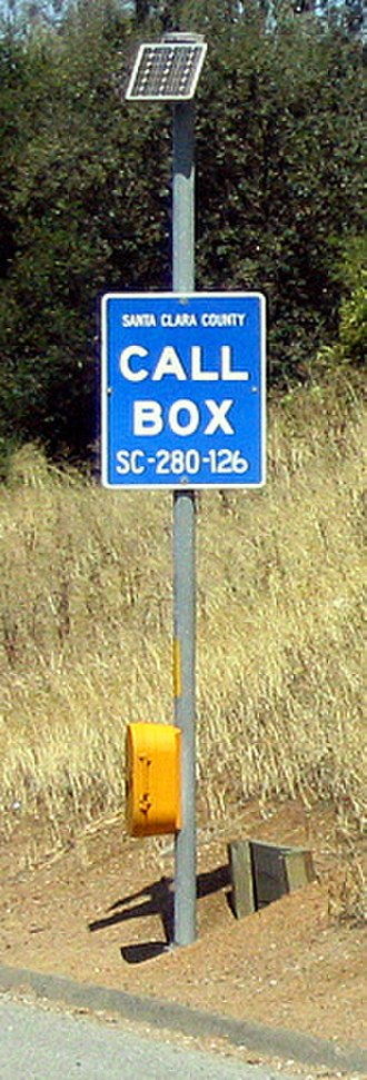 California postmile - Postmile SC 12.6 labeled on a callbox for I-280 in Santa Clara County