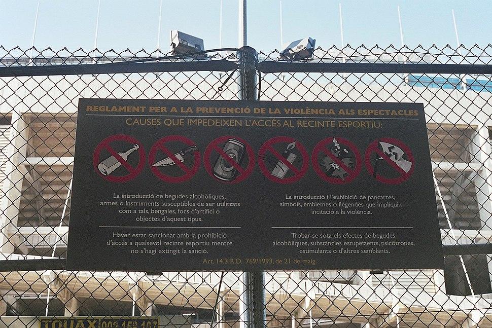 Camp nou sign violence hooligan