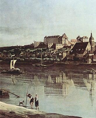 Sonnenstein Castle - Pirna and Schloss Sonnenstein, by Bernardo Bellotto (Canaletto)