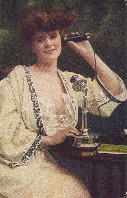 An early 20th century Candlestick telephone used for a phone call. CandlestickTelephoneGal.jpg